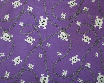 Purple Skull Fabric w/ Barbed Wire School of Rock by the yard