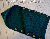Button Up Waves Hooded Cocoon - Crochet Pattern