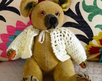 Vintage Gold Velveteen Teddy Bear by Karma Toys (Japan) - 1920's-1930's