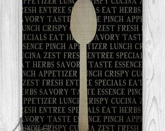 Kitchen Spoon Art Print, Kitchen Wall Decor, Silverware Art Print, Kitchen Spoon, Foodie Typography Poster, Kitchen Utensil Art Print
