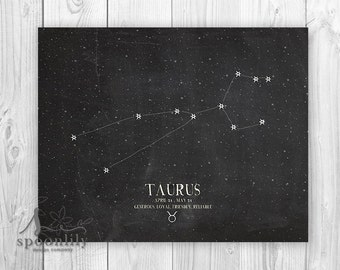 TAURUS, Zodiac Constellation Print, Chalkboard Art, Astrology Print - Home Decor Wall ART PRINT