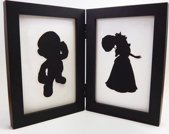 Mario and Princess Peach Super Mario Brothers sweetheart couple 4x6 Framed Sets  Hand cut paper art black silhouette paper cutting