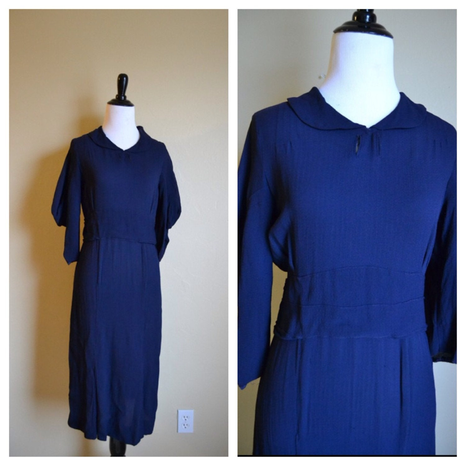 1930 s navy blue dress with belt by thehollowvintage on etsy