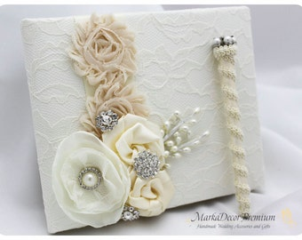 Wedding Lace Guest Book with a Pen Custom Bridal Birthday Book Flower Brooch Guest Books in Ivory and Champagne