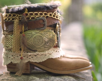 Upcycled Custom REWORKED vintage lacy festival boho COWBOY BOOTS - boho boots - western boots gypsy boots leather ankle boots