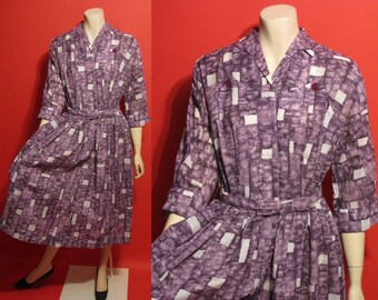 Vintage 1950's Atomic Purple Rockabilly Lucy A-Line Ladies Large Dress
