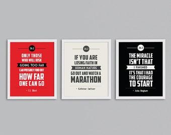 Running Marathon Gift - Set of 3 Retro Inspirational Quote Art Prints