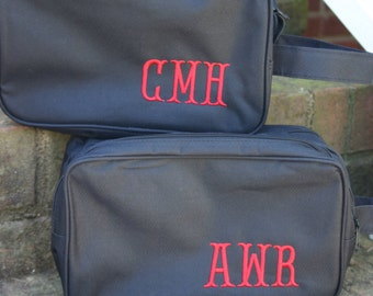 Personalized Groomsman Gifts  9 Black Toiletry Bags Monograms Included