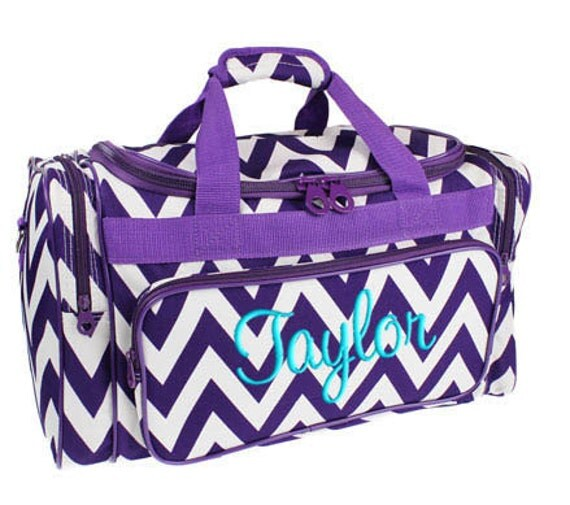 Monogrammed Purple Chevron Duffel Bag Personalization Included