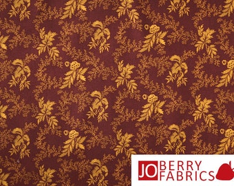 Gold and Burgundy Floral Fabric, Circa 1825 by Sharon Yenter and Jason Yenter for In The Beginning Fabrics
