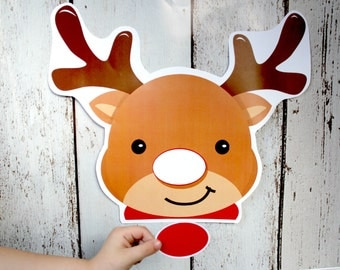 Instant Download Christmas PIN the NOSE on Rudolph Game - PRINTABLE Download - Fun Family Party diy