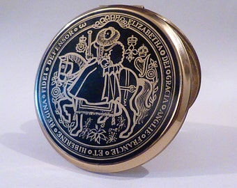 Rare Queen Elizabeth I Stratton compact royal powder compacts collectible powder mirrors