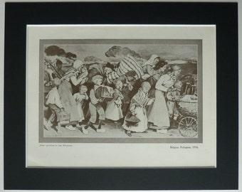 1919 Vintage First World War Print of Belgian Refugees Circa 1914 Artwork depicting the destruction of war, vintage world war one art