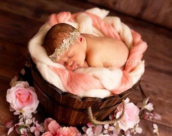 Peach Green Baby Photo Prop , Newborn Girl Flower Headband ; Baby Girl Photo Prop halo