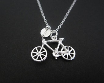 Sterling Silver Bicycle Necklace. Initial Necklace. Sterling Silver Bicycle. Tiny Silver Disc. Biker Jewelry. Cute Bike Pendant.