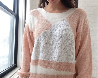 1980s Angora Blend Geometric Sweater