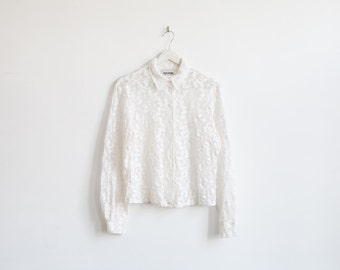 on sale - white floral see-through blouse / long sleeve button up shirt / size M