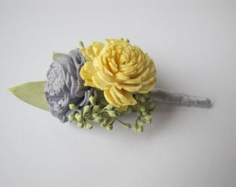 Yellow and Grey Boutonniere - Yellow Wedding Boutonniere - Gray Wedding - Grey and Yellow - Grey Wedding - Men's Boutonniere - Prom