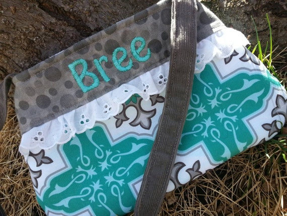 Personalized Little Girls Purse, Teal and Grey Toddler Purse