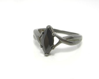 Oxidized sterling silver ring - Marquise cut black onyx gemstone