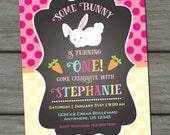 Bunny Birthday Invitation, Easter Birthday Invitation, Bunny First Birthday Invitation, Chalkboard Birthday Invitation, Bunnies, Easter