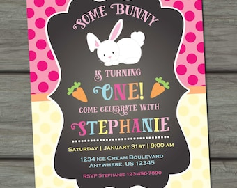 Bunny Birthday Invitation, Easter Birthday Invitation, Bunny First Birthday Invitation, Chalkboard Birthday Invitation, Bunnies, Easter