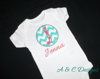 Circle Initial with name onesie (Gerber) or bodysuit (Carter's)
