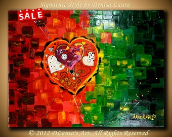 Large ORIGINAL Modern Fine Art Steampunk Heart Thick Textured Red Green Painting Made With a Palette Knife by Alex Rusu 32x24