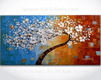 Modern Tree Painting ORIGINAL Large Abstract White Cherry Blossom Tree Palette Knife Impasto Texture Contemporary Oil 40x20 by Denisa Laura
