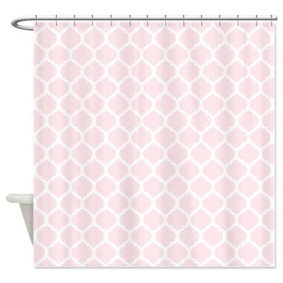 custom quatrefoil shower curtain blush pink and white