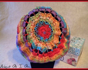 Crocheted Multi Colored Super Slouchy Beret