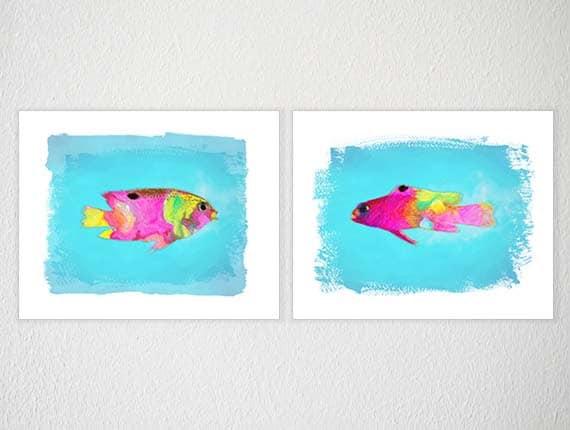 items similar to turquoise wall art fish illustration. Black Bedroom Furniture Sets. Home Design Ideas