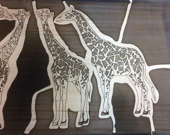 Black & White Giraffe's in a Giraffe scarf