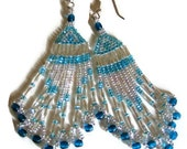 Tribal Beaded Chandelier Earrings In Teal And Crystal With Fringe