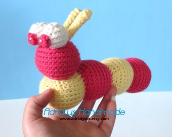 Clearance- Crochet Caterpillar- Stuffed Caterpillar- Caterpillar Plush- Insect Toys- Handmade Caterpillar- Crochet Toy- Ready to Ship
