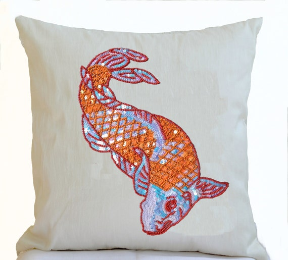 Decorative pillow orange japanese koi carp fish on ivory for Koi fish pillow