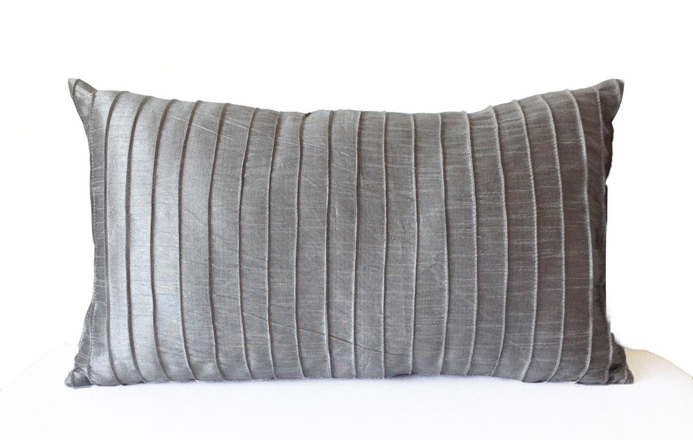 Gray Decorative Throw Pillows : Grey Silk Pleated Textured Pillow Cover Lumbar Pillow Grey