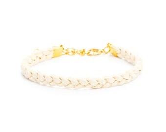 Braided Beige Suede Bracelet
