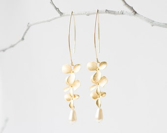 Delicate gold triple orchid flower earrings with drop pearl