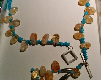 Serene Citrine and Turquoise Lariat Necklace and Earring Set