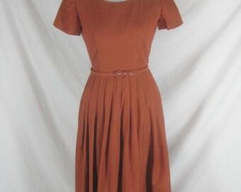 1940s 1950s Orange Womens Vintage NWOTS Full Skirt Party Dress W 26