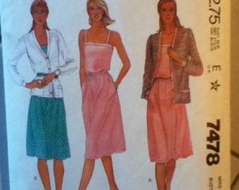 """McCall's Dress & Jacket Pattern 7478 Size 16: Bust 38"""", Waist 30"""", Hip 40"""""""