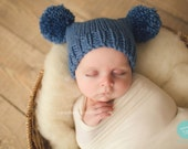 Knitted baby boys hat - preemie premature - denim blue pom pom hat - autumn fall winter - photo prop - hand knit - baby shower gift - vegan