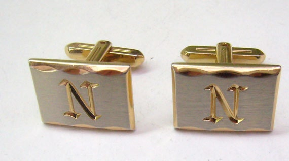 vintage initial cufflinksscript letter nbrushed silver
