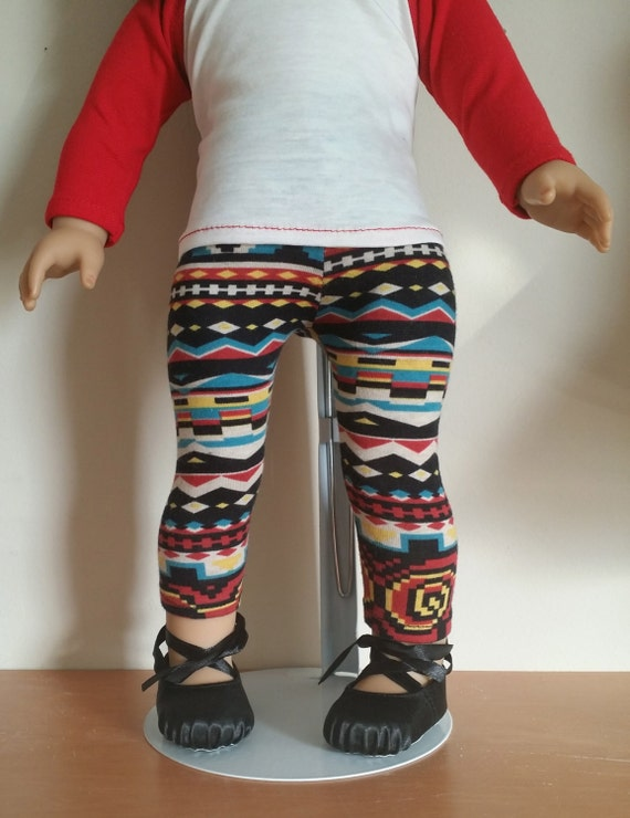 Red and Cream Baseball Tee and Aztec print leggings for 18 inch dolls such as American Girl, Our Generation, My Life dolls and others