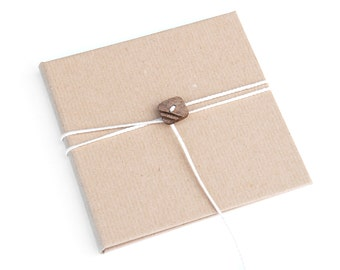 Kraft brown paper CD/DVD Case with button and white string