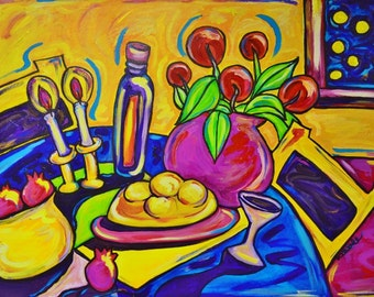 Shabbat Art, Judaica, Jewish Art for the Home, Shabbat Dinner Table--Fine Art Print Dinner Tablescape PRINT