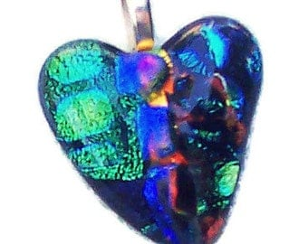 Dichroic Fused Glass Heart Pendant, Multi-Colored, Green, Blue, 1 and1/2 inch,Silver