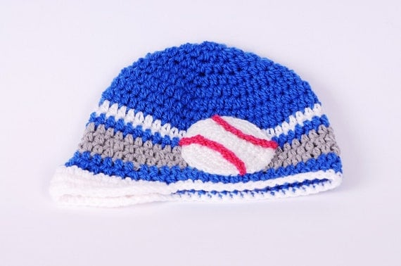 baby boy baseball hat infant crochet newsboy hat by