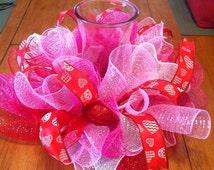 Valentine Table Centerpiece/ Valentine's Day Deco mesh table centerpiece/ Valentine Candle Ring/ Candle Holder